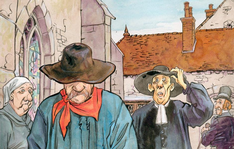 Meurtre sur le Grandvaux - Illustration Thierry Gaufillet - Paysan et curé devant une église